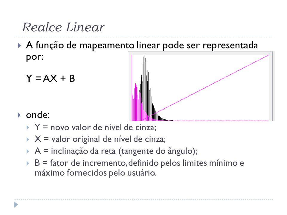 Realce Linear A função de mapeamento linear pode ser representada por: Y = AX + B. onde: Y = novo valor de nível de cinza;