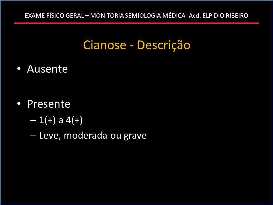 Cianose - Descrição Ausente Presente 1(+) a 4(+)