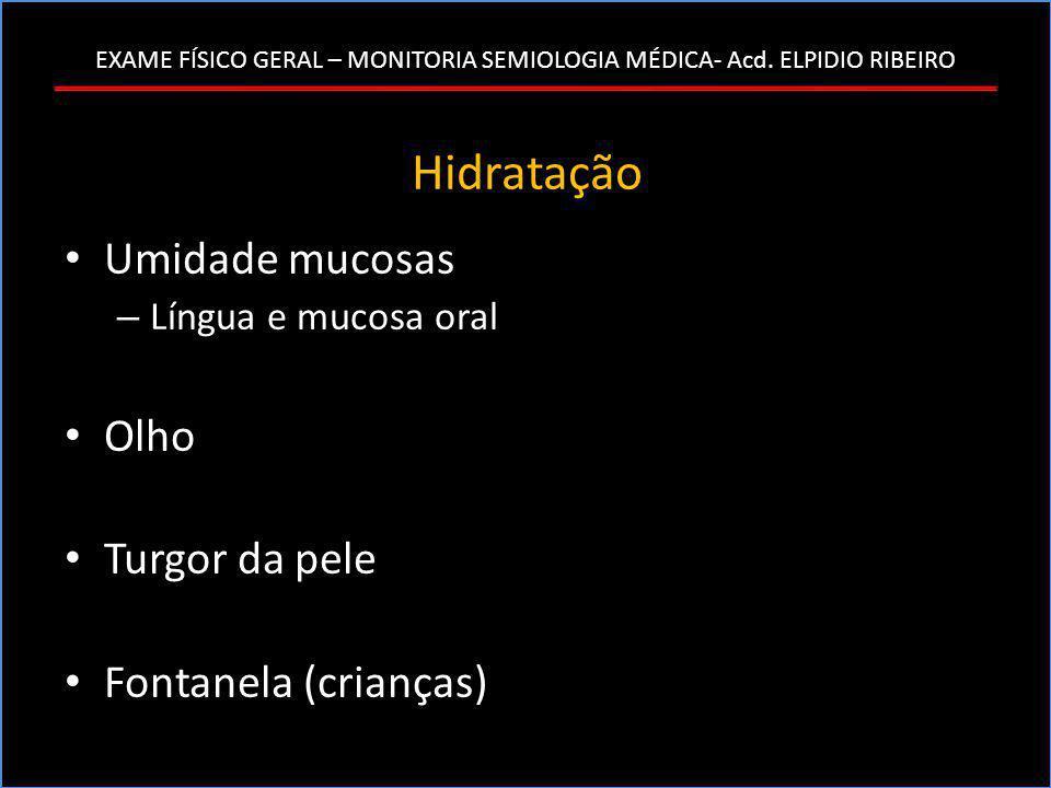 Hidratação Umidade mucosas Olho Turgor da pele Fontanela (crianças)