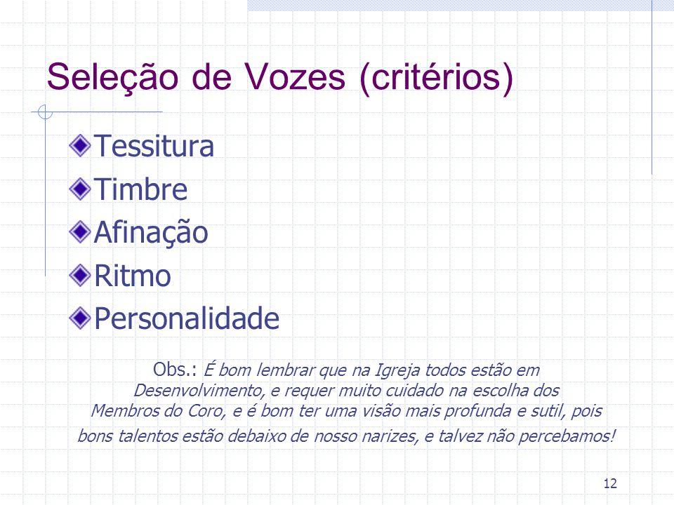 Seleção de Vozes (critérios)