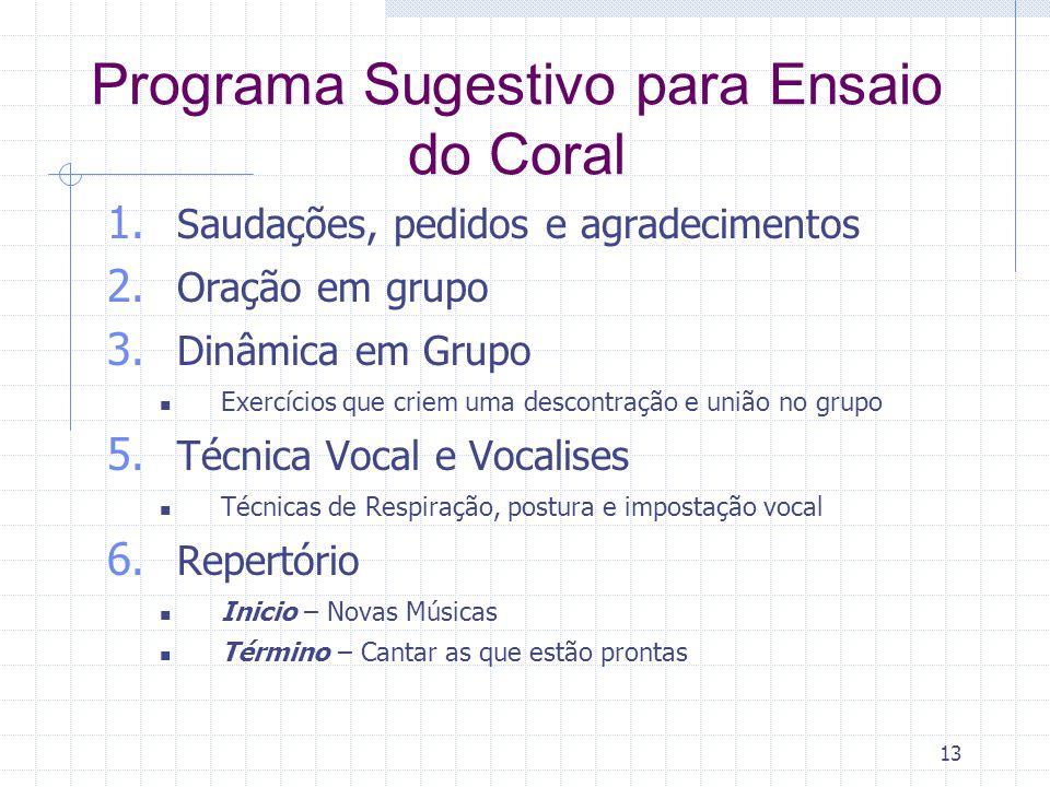 Programa Sugestivo para Ensaio do Coral