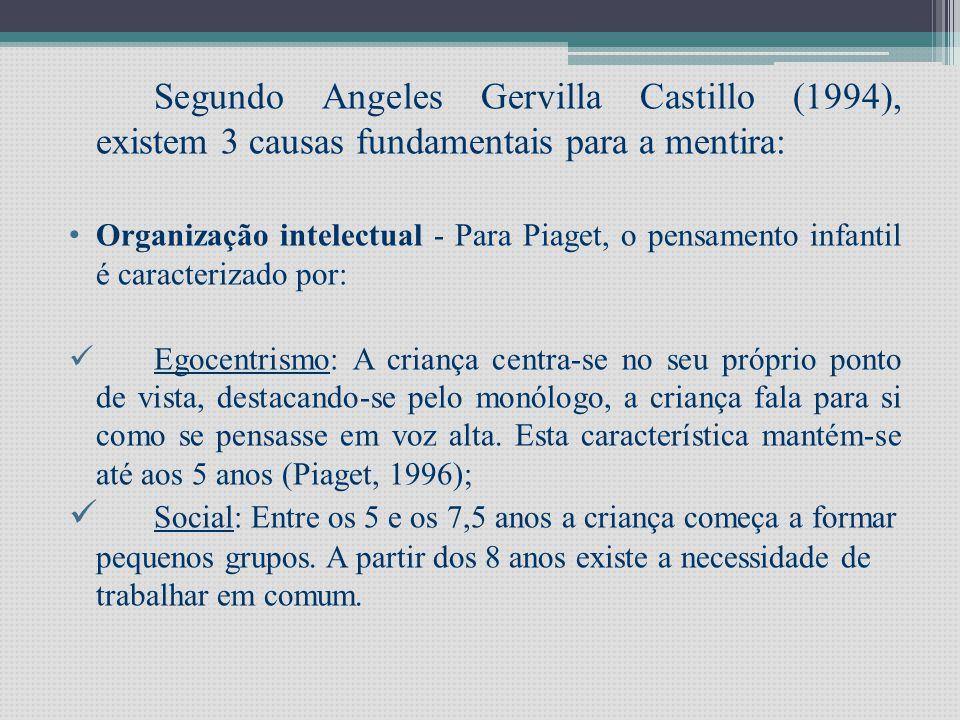 Segundo Angeles Gervilla Castillo (1994), existem 3 causas fundamentais para a mentira: