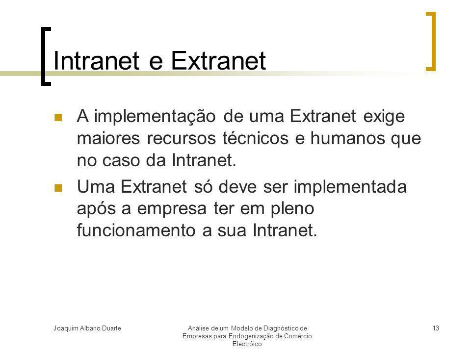 Intranet e Extranet A implementação de uma Extranet exige maiores recursos técnicos e humanos que no caso da Intranet.