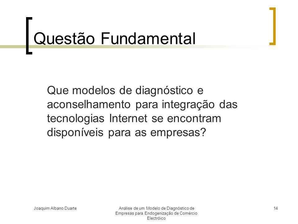 Questão Fundamental Que modelos de diagnóstico e aconselhamento para integração das tecnologias Internet se encontram disponíveis para as empresas