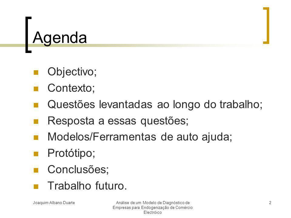 Agenda Objectivo; Contexto; Questões levantadas ao longo do trabalho;