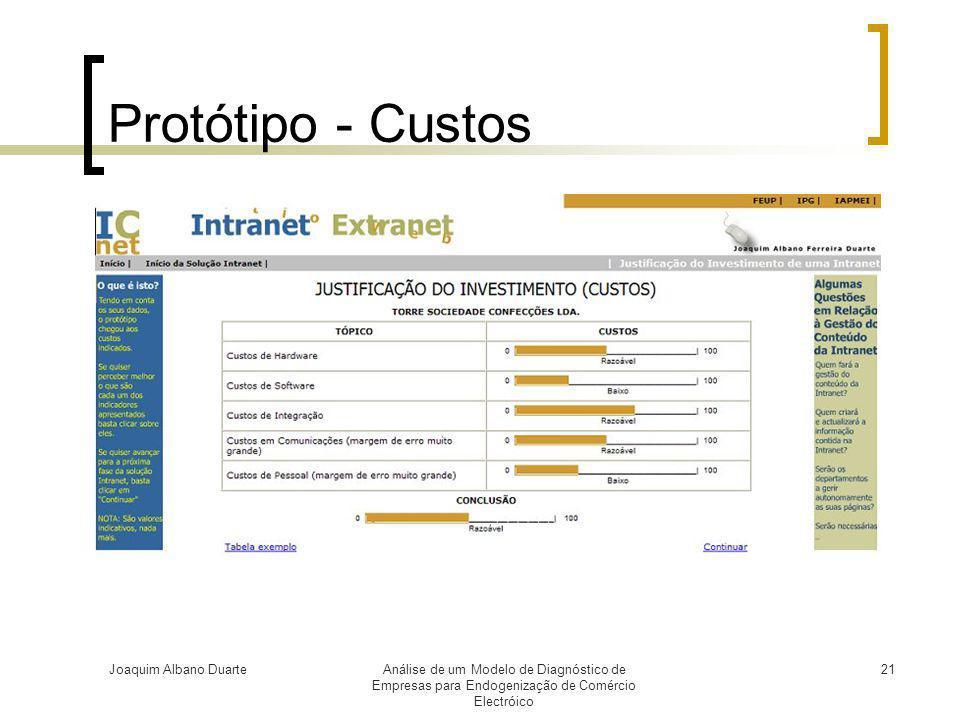 Protótipo - Custos Joaquim Albano Duarte