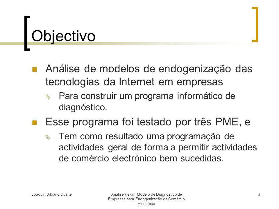 Objectivo Análise de modelos de endogenização das tecnologias da Internet em empresas. Para construir um programa informático de diagnóstico.
