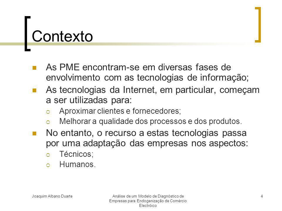 Contexto As PME encontram-se em diversas fases de envolvimento com as tecnologias de informação;