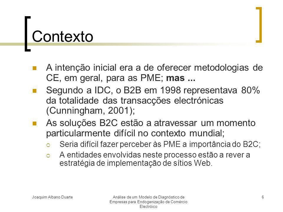 Contexto A intenção inicial era a de oferecer metodologias de CE, em geral, para as PME; mas ...