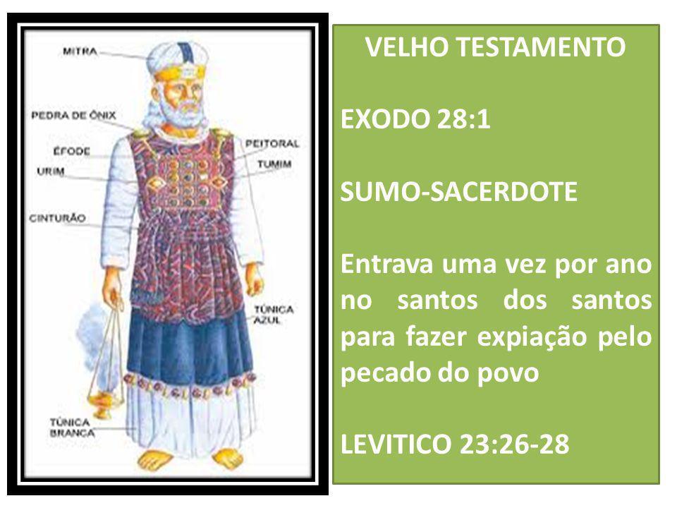 VELHO TESTAMENTO EXODO 28:1. SUMO-SACERDOTE. Entrava uma vez por ano no santos dos santos para fazer expiação pelo pecado do povo.