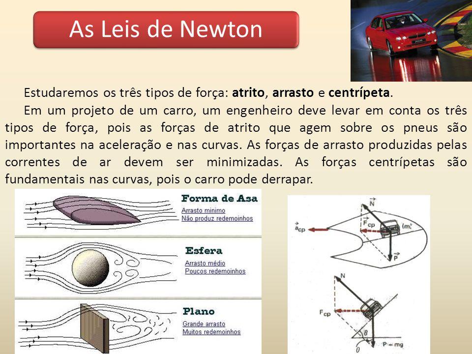 As Leis de Newton Estudaremos os três tipos de força: atrito, arrasto e centrípeta.