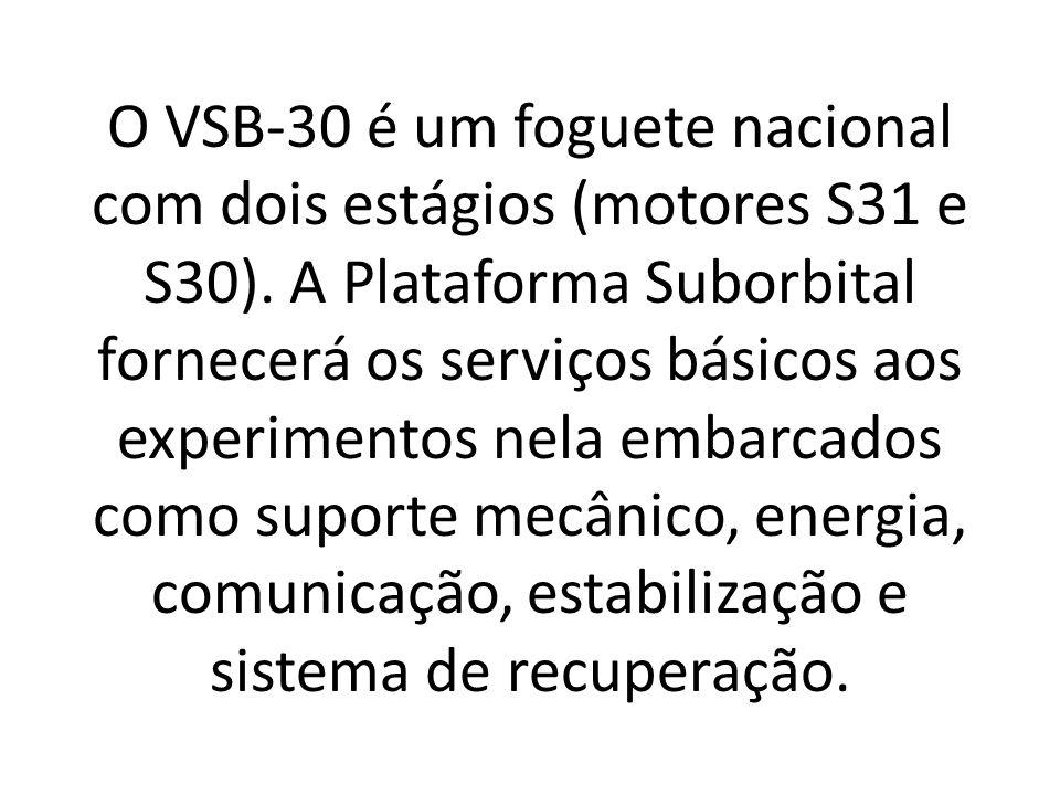 O VSB-30 é um foguete nacional com dois estágios (motores S31 e S30)