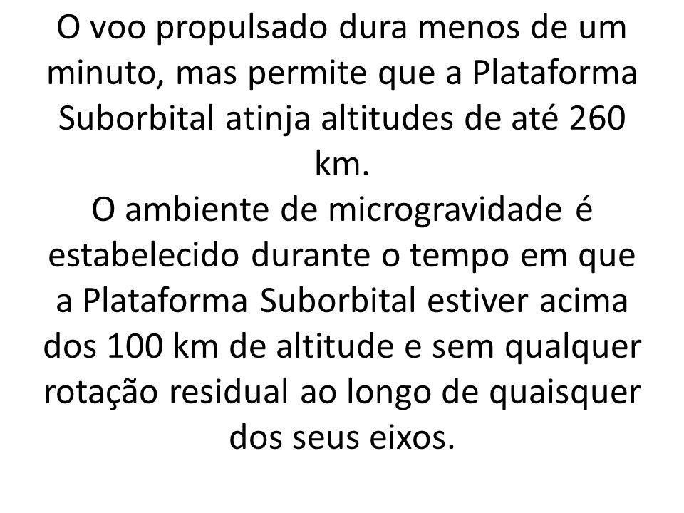 O voo propulsado dura menos de um minuto, mas permite que a Plataforma Suborbital atinja altitudes de até 260 km.