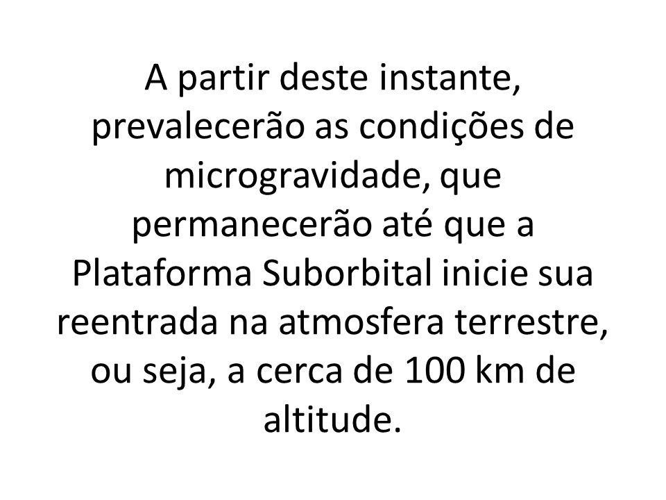 A partir deste instante, prevalecerão as condições de microgravidade, que permanecerão até que a Plataforma Suborbital inicie sua reentrada na atmosfera terrestre, ou seja, a cerca de 100 km de altitude.