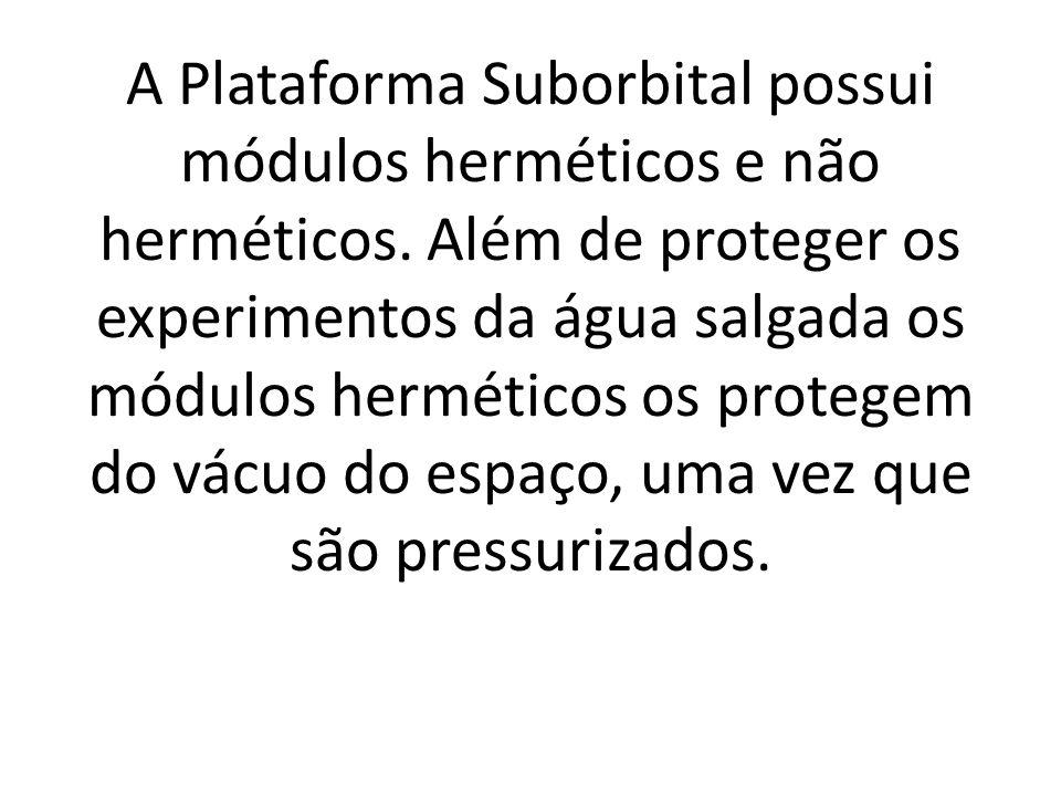 A Plataforma Suborbital possui módulos herméticos e não herméticos