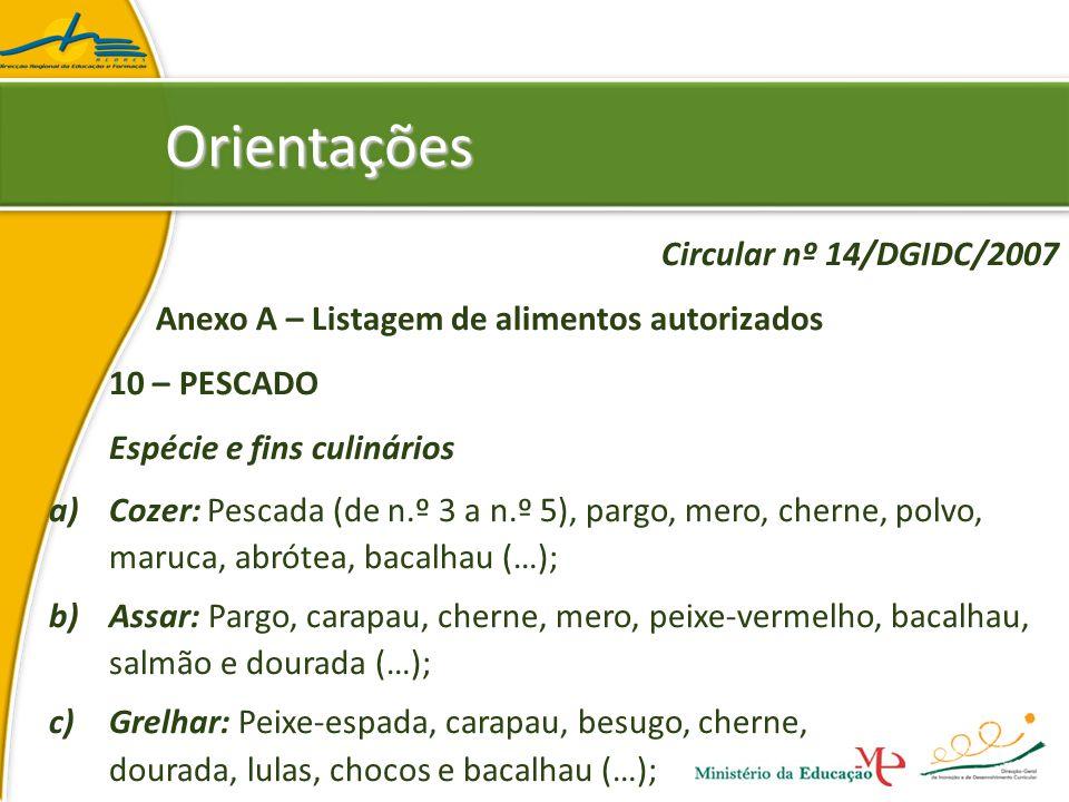 Orientações Circular nº 14/DGIDC/2007