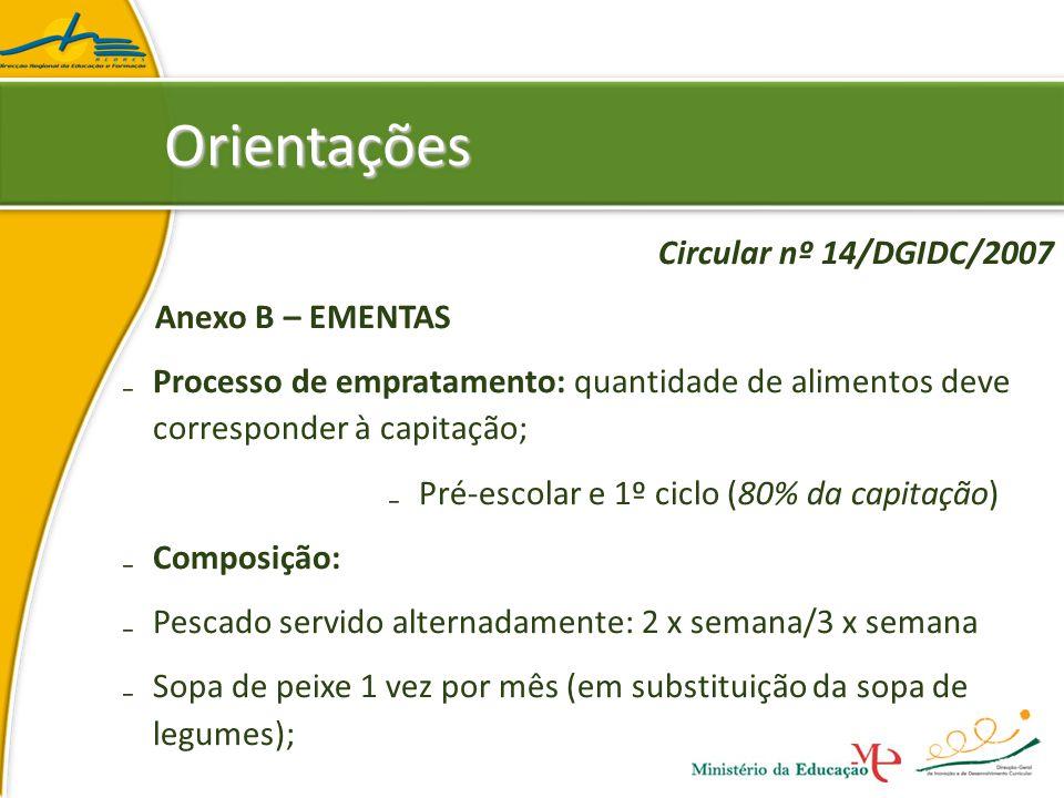 Orientações Circular nº 14/DGIDC/2007 Anexo B – EMENTAS