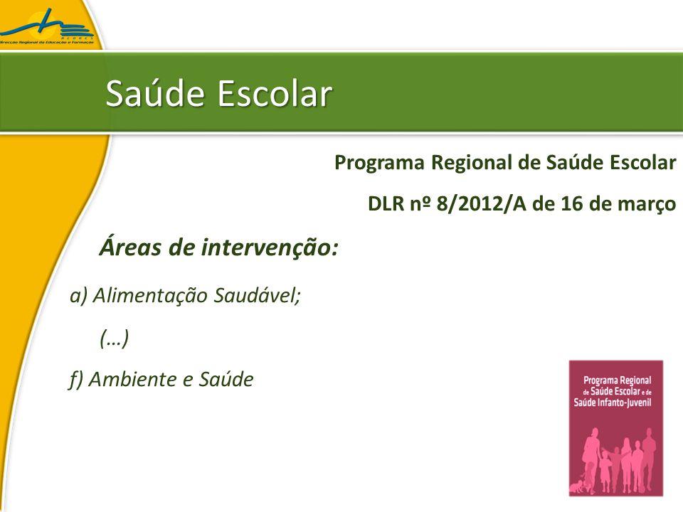 Saúde Escolar Áreas de intervenção: a) Alimentação Saudável;