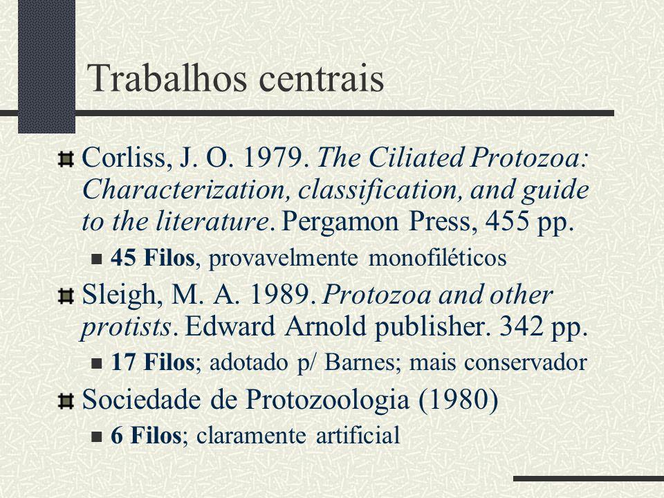 Trabalhos centrais Corliss, J. O. 1979. The Ciliated Protozoa: Characterization, classification, and guide to the literature. Pergamon Press, 455 pp.