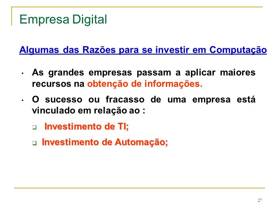 Empresa Digital Algumas das Razões para se investir em Computação