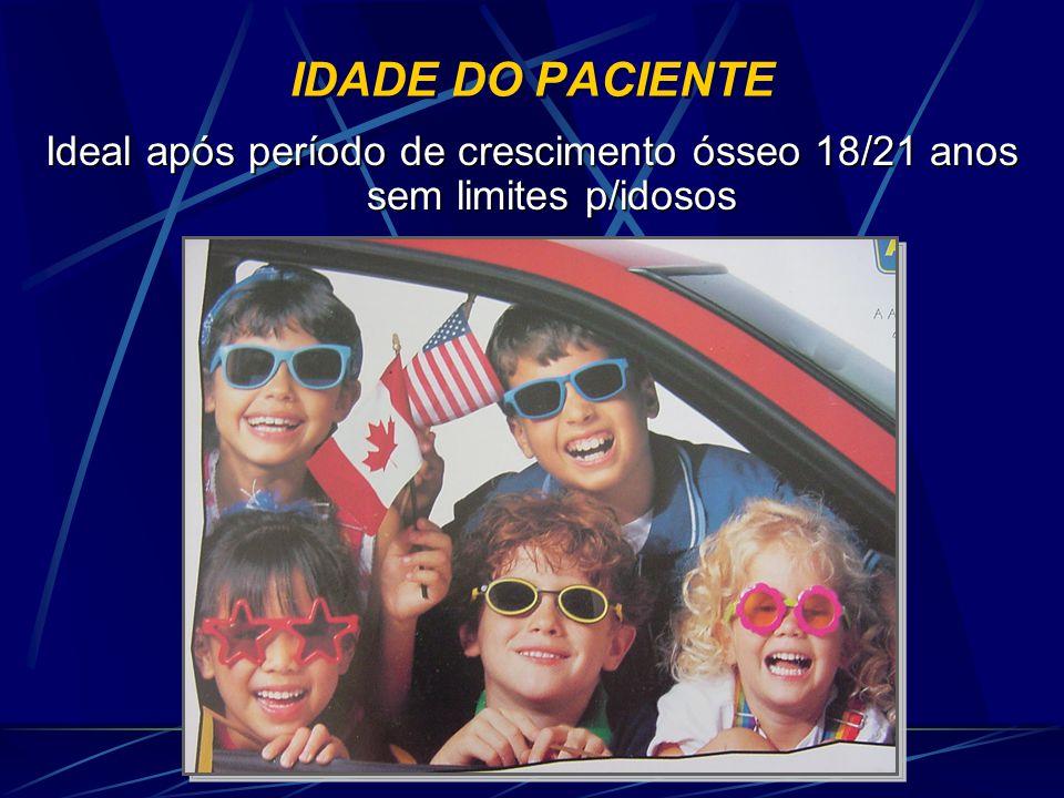IDADE DO PACIENTE Ideal após período de crescimento ósseo 18/21 anos sem limites p/idosos