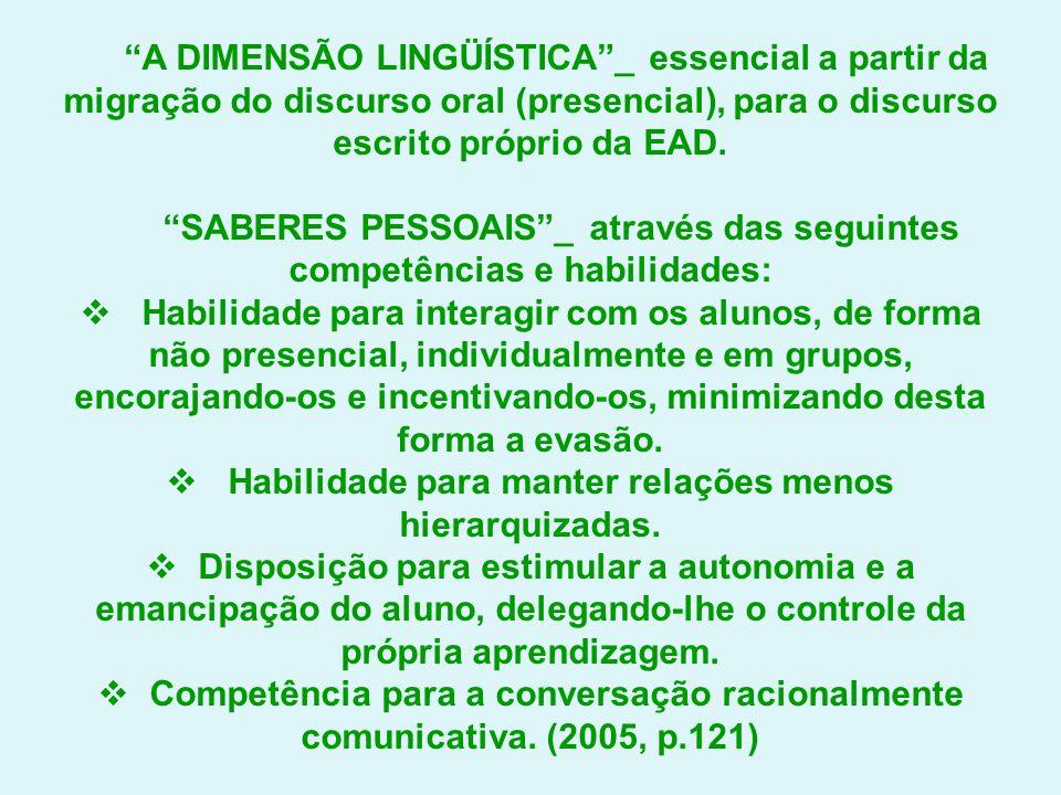 SABERES PESSOAIS _ através das seguintes competências e habilidades: