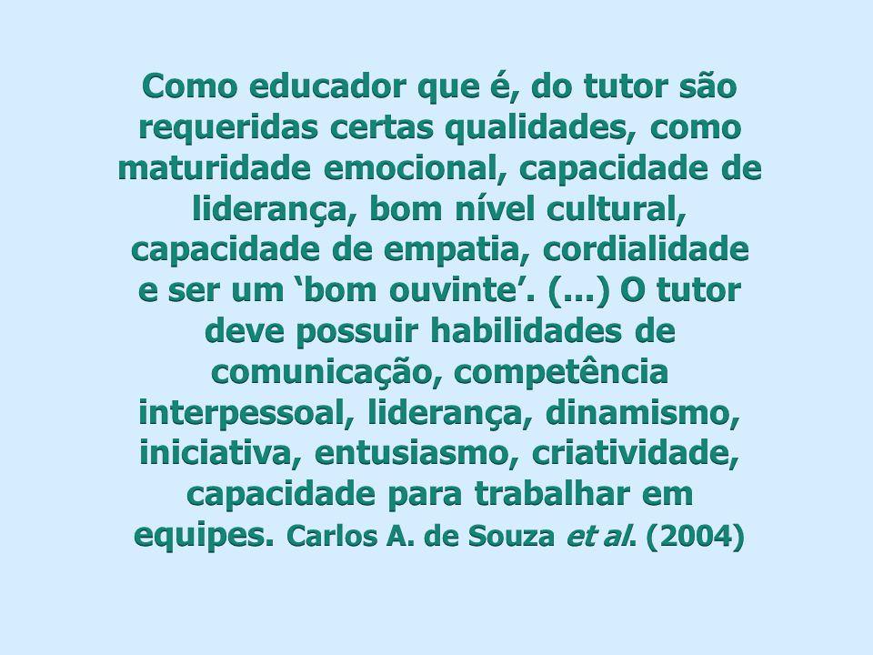Como educador que é, do tutor são requeridas certas qualidades, como maturidade emocional, capacidade de liderança, bom nível cultural, capacidade de empatia, cordialidade e ser um 'bom ouvinte'.