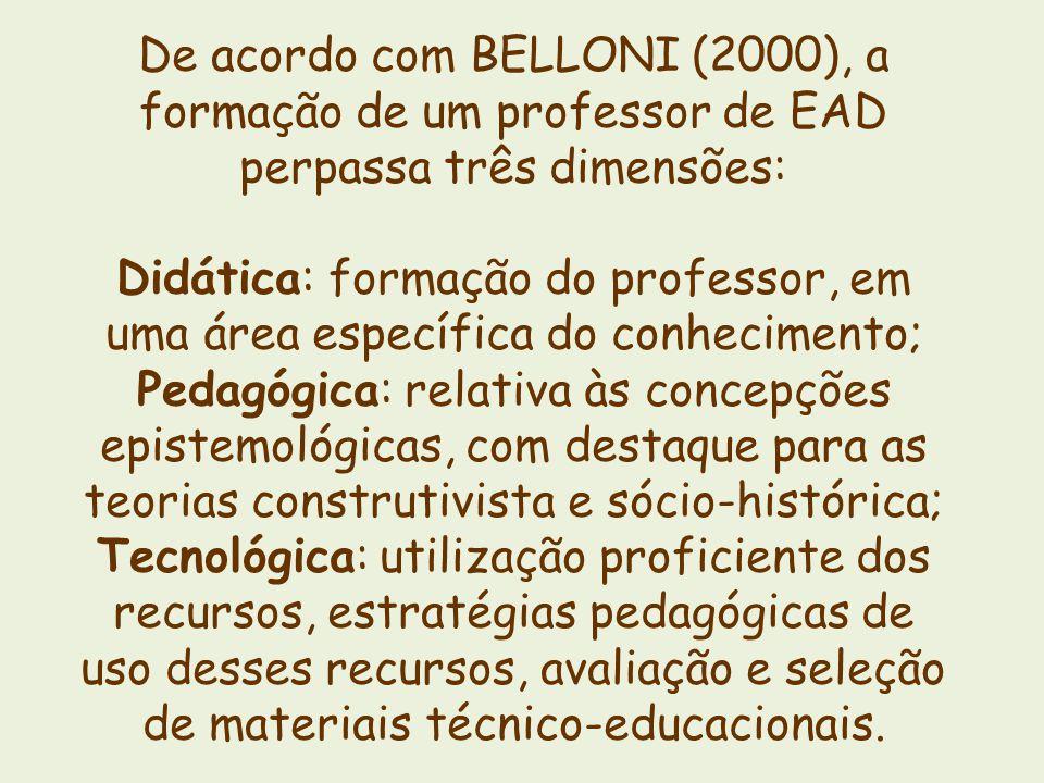 De acordo com BELLONI (2000), a formação de um professor de EAD perpassa três dimensões: