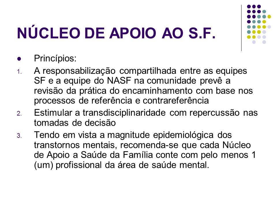 NÚCLEO DE APOIO AO S.F. Princípios: