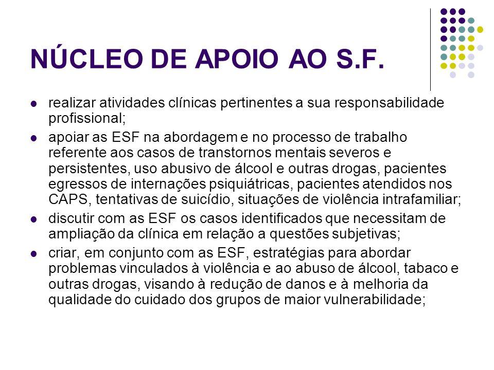 NÚCLEO DE APOIO AO S.F. realizar atividades clínicas pertinentes a sua responsabilidade profissional;