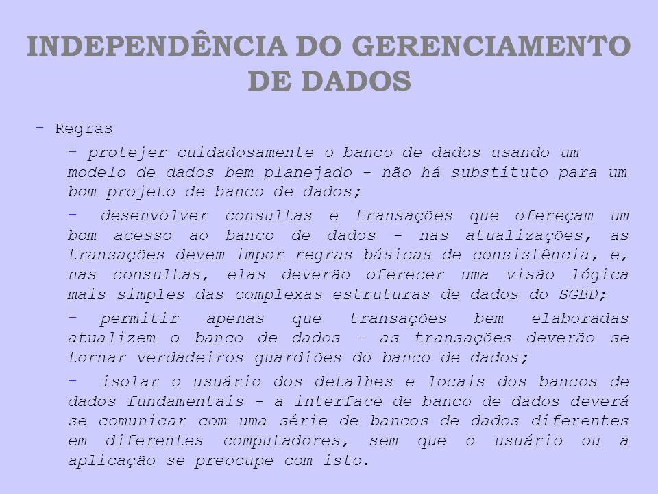 INDEPENDÊNCIA DO GERENCIAMENTO DE DADOS