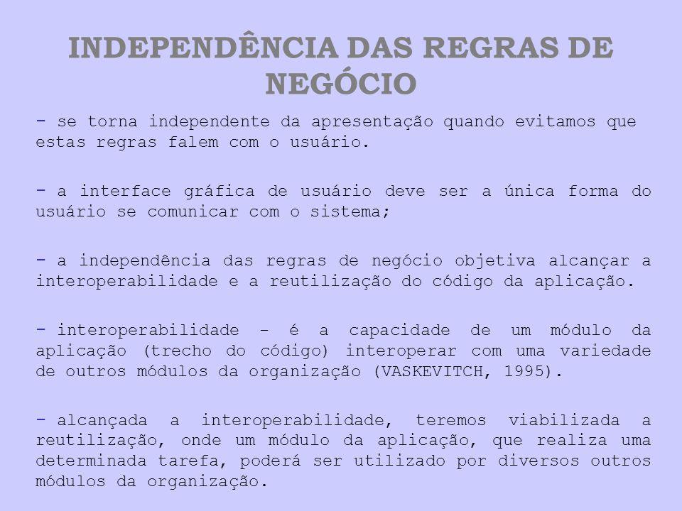 INDEPENDÊNCIA DAS REGRAS DE NEGÓCIO