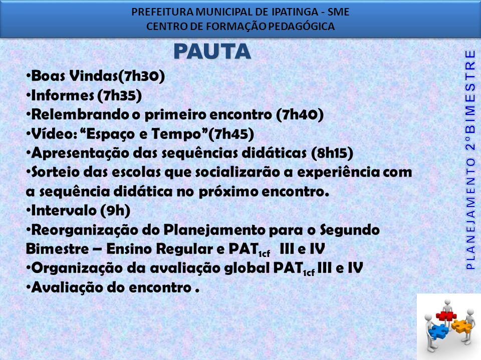 PAUTA Boas Vindas(7h30) Informes (7h35)