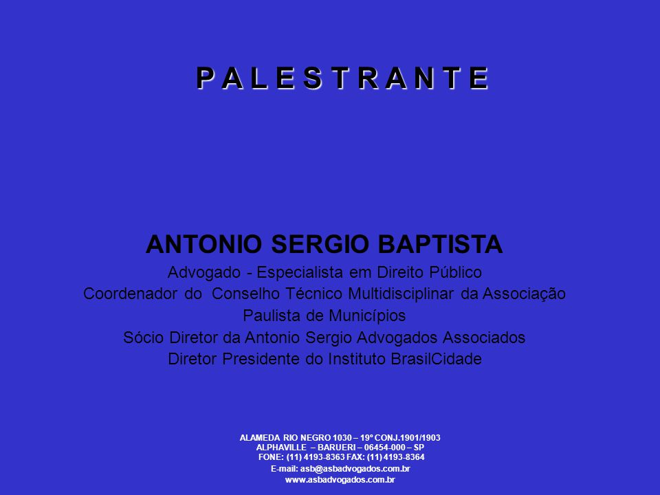 P A L E S T R A N T E ANTONIO SERGIO BAPTISTA