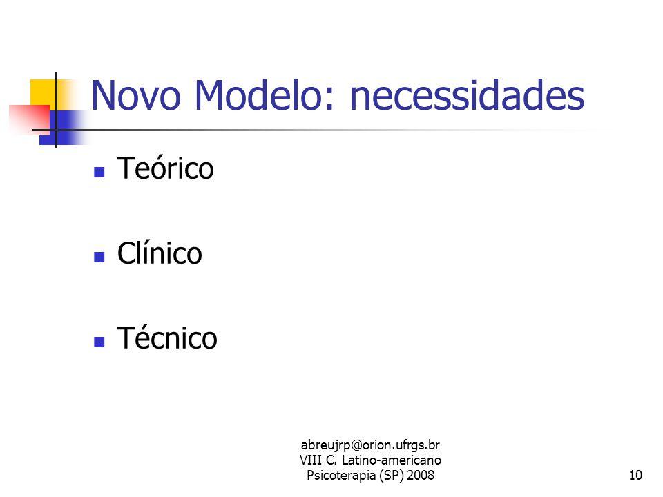 Novo Modelo: necessidades