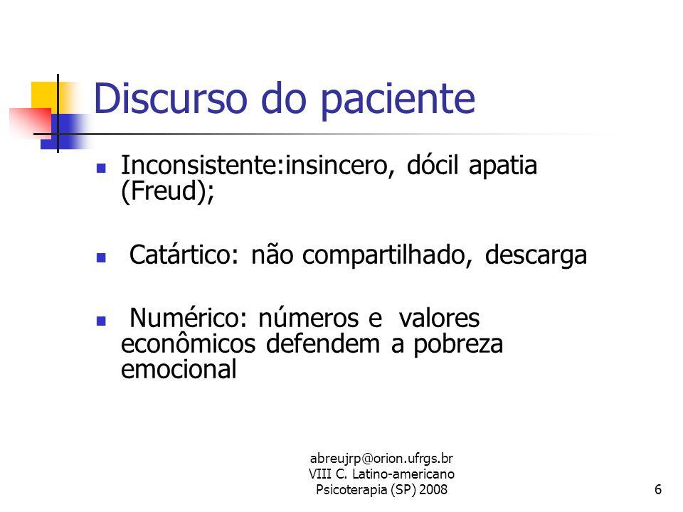 Discurso do paciente Inconsistente:insincero, dócil apatia (Freud);