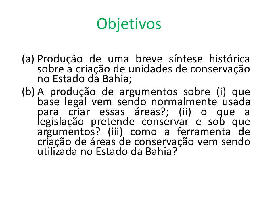 Objetivos Produção de uma breve síntese histórica sobre a criação de unidades de conservação no Estado da Bahia;