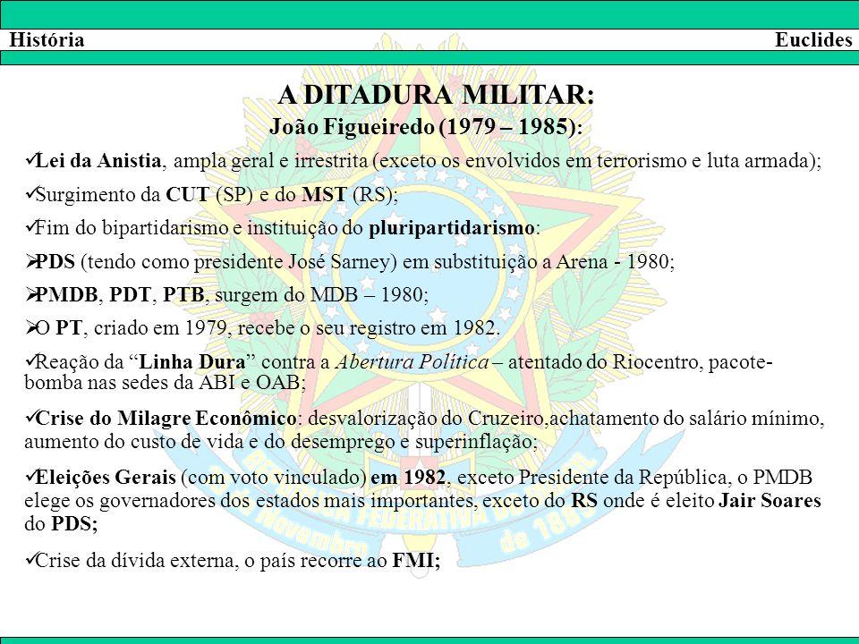 A DITADURA MILITAR: João Figueiredo (1979 – 1985): História Euclides