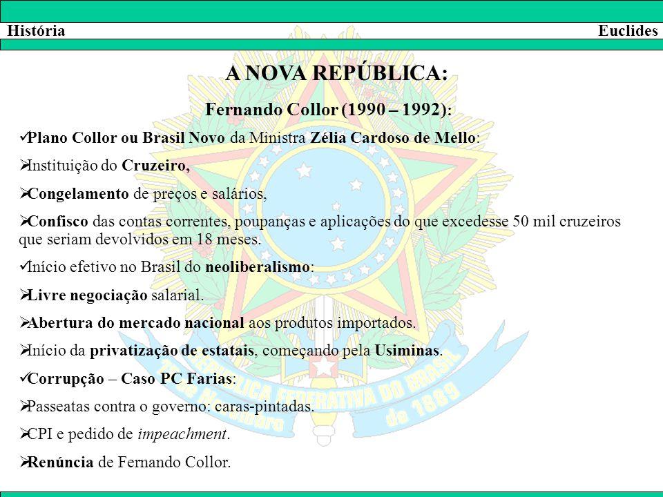 A NOVA REPÚBLICA: Fernando Collor (1990 – 1992): História Euclides