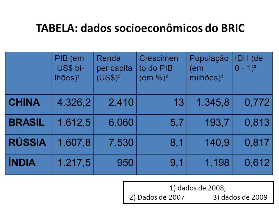 TABELA: dados socioeconômicos do BRIC
