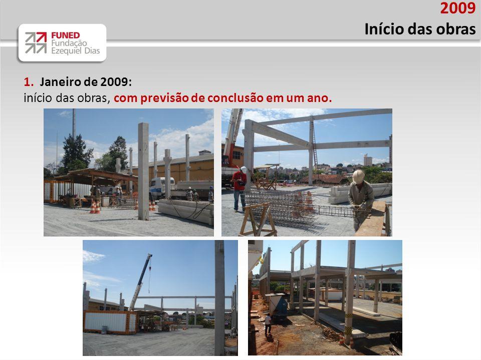 2009 Início das obras 1. Janeiro de 2009: