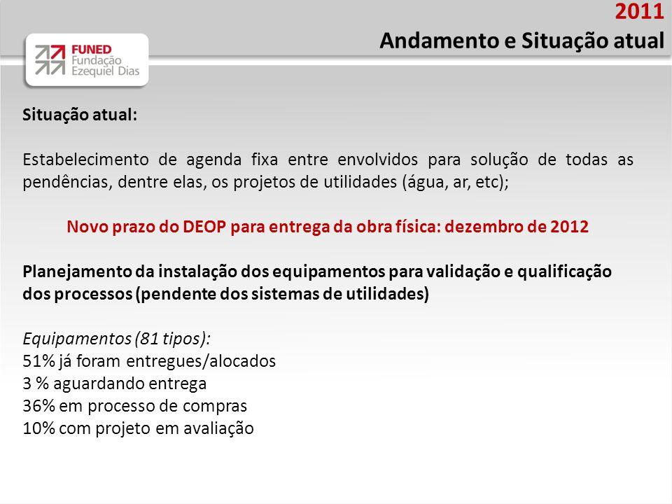 Novo prazo do DEOP para entrega da obra física: dezembro de 2012