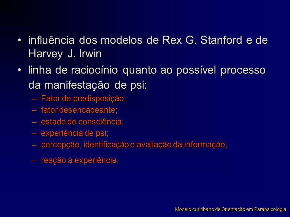 influência dos modelos de Rex G. Stanford e de Harvey J. Irwin