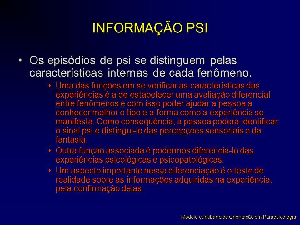 INFORMAÇÃO PSI Os episódios de psi se distinguem pelas características internas de cada fenômeno.