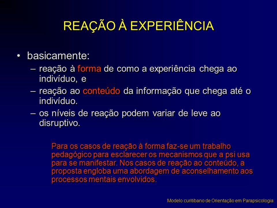REAÇÃO À EXPERIÊNCIA basicamente:
