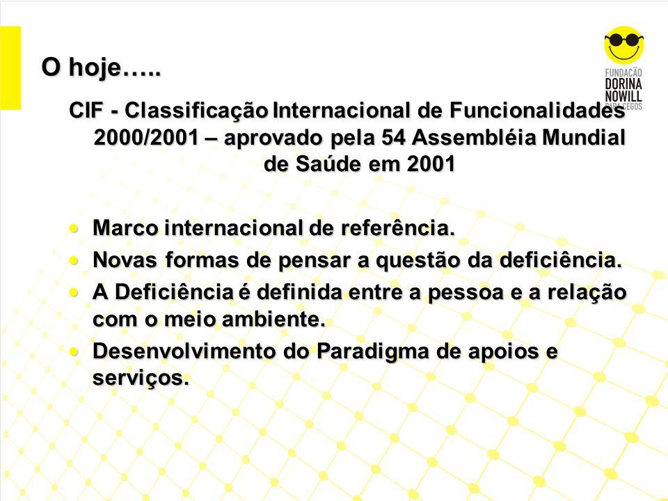 O hoje….. CIF - Classificação Internacional de Funcionalidades 2000/2001 – aprovado pela 54 Assembléia Mundial de Saúde em 2001.