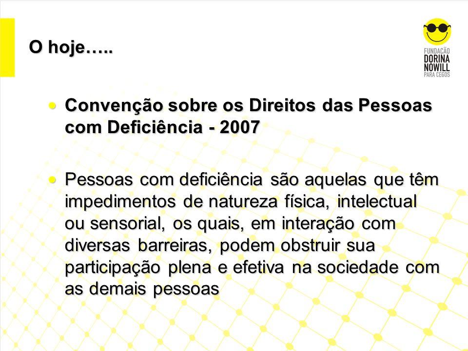 O hoje….. Convenção sobre os Direitos das Pessoas com Deficiência - 2007.