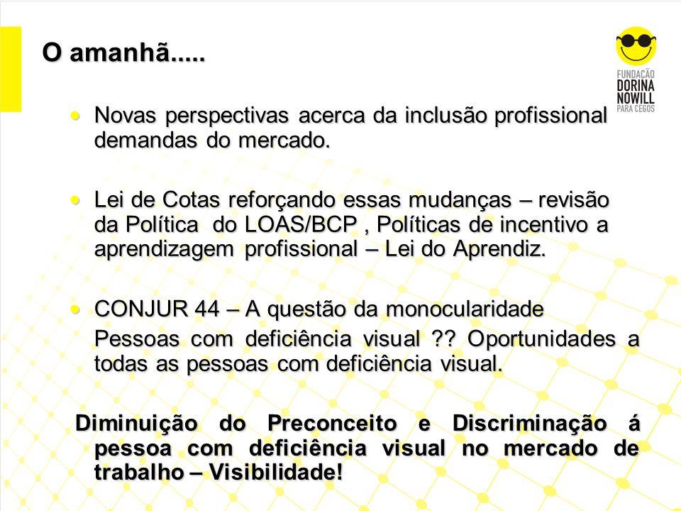 O amanhã..... Novas perspectivas acerca da inclusão profissional demandas do mercado.