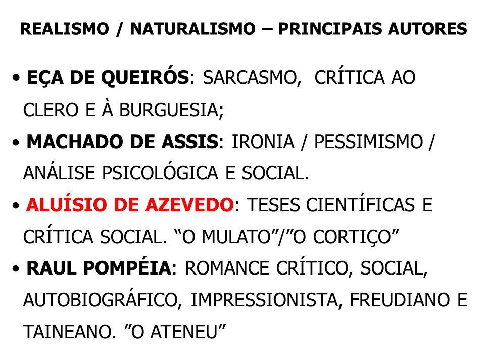 REALISMO / NATURALISMO – PRINCIPAIS AUTORES