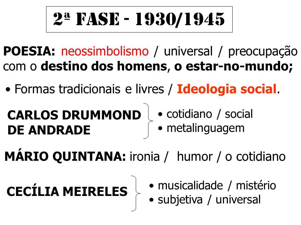 2ª FASE - 1930/1945 POESIA: neossimbolismo / universal / preocupação com o destino dos homens, o estar-no-mundo;